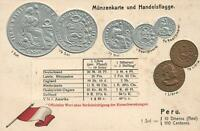1900's VINTAGE PERU EMBOSSED SILVER & GOLD COINS & PERUVIAN FLAG POSTCARD