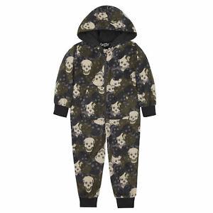 Infant Boys Pyjama All In One Jumpsuit PJ Nightwear Fleece Hood Skull Camo Kids