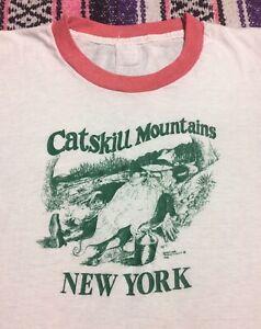 Vtg 1980s Catskills Mountains New York Harley Davidson Rock Ringer t shirt Sz S