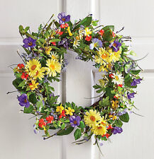 Daisy Wreath Front Door Hanging Decor Spring Summer Easter Greenary Twig  Wreath