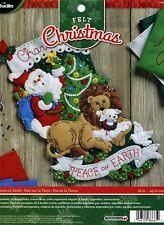 "Bucilla Peace on Earth ~ 18"" Felt Christmas Stocking Kit #86665, Lion Lamb Santa"