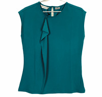 BNWT Biz Collection Womens Teal Short Sleeve Corporate Blouse Size 10