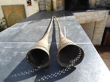 3 trompes de fantasia anciennes du maroc en cuivre chnoues