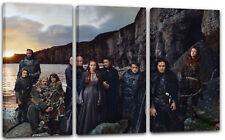 120x80cm Lein-Wand-Bild: Game of Thrones Darsteller vor Meeres- und Bergkulisse