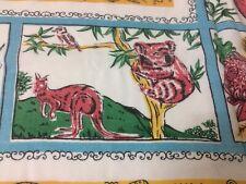 Vintage Retro Floral Kitchen Tablecloth , Australian Animals ,Mid Century