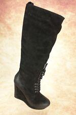 NEW $349 Diesel Salsy Distressed Black Suede Knee High Zip Up Wedge Boots 7.5M