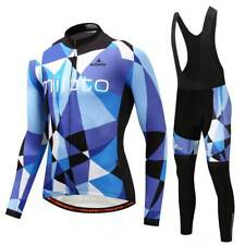Men's Bicycle Clothes Set Long Sleeve Cycling Jersey Padded (Bib) Pants Kit Blue