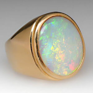 22K Yellow Gold Natural Ethiopian Opal Gem Stone Men's Ring