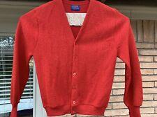 Pendelton Size M 100% Pure Virgin Wool Sweater Red Long Sleeve Cardigan Vintage