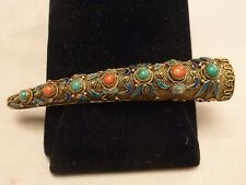 ANTIQUE GOLD ON SILVER CORAL TURQUOISE ENAMEL ORIENTAL HORN PIN BROOCH