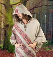 Mens Poncho Large Hood Yak Wool Light Grey Tribal Embroidery Celtic Patterns Gyp