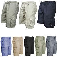 Mens Summer Elasticated Plain Shorts Lightweight Cargo Combat Cotton Pants 28-44