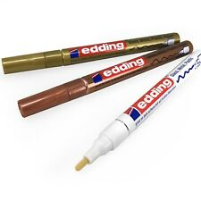 3 x Edding 751/780 Paint Marker Pens - 0.8 - 2mm - White, Gold and Copper