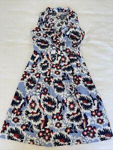 Karen Walker Navy Red Blue White Floral Print A-Line Fit & Flare Dress - 8