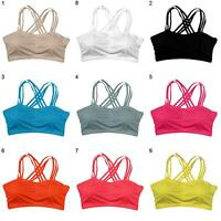 EG_ Women Sexy Pull Up Sport Bra Solid Bustier Vest Yoga Workout Athletic Top Pr