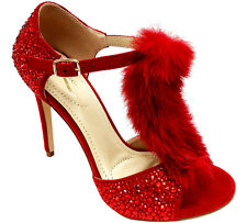 Red Belagio T STRAp Heels FAuX FuR CRySTAL STuD Ankle BucKLE BuRLESqUE 6.5 SHOES