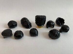 Lego 10 parts - lot - HAIR Black - Star Wars Hobbit Ninjago City IRON MAN guard