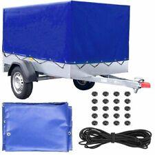 FIXKIT Trailer tarpaulin high tarpaulin with rubber belt for car trailer 2100x1140x880 mm Blue