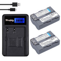 2Pcs EN-EL3e Battery For Nikon D90 D200 D300S D700 D80 D70 D50 + LCD USB Charger