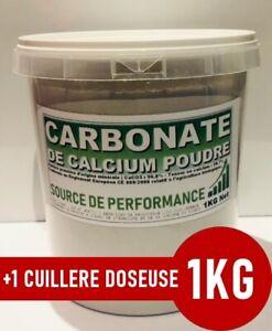 ⭐ 1KG | CARBONATE DE CALCIUM POUDRE FINE DE TYPE FARINE +1 Cuillère Doseuse 25ml