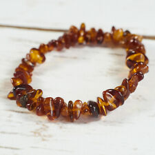 Genuine Natural Baltic Amber Bracelet Raw Brown Cognac Beads Universal Handmade