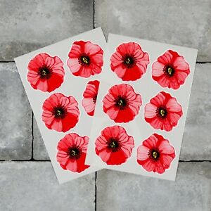 Poppy Flower Stickers - Water Colour - Wall Or Window - Car Remembrance Day