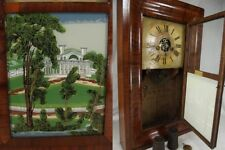 RARE Ogee clock SILAS B TERRY OG Shelf Mantel Clock SB reverse painted weights