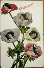 Flowerface/Flower Face 1912 Postcard - Five Women in Flowers