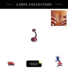 Belly Button Ring Bar Body Jewellery Piercing Pink Ceramic Dangle Drop Navel UK
