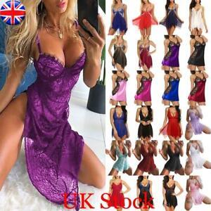 Women Sexy Lace Lingerie Dress Robe Push Up Bra Babydoll Nightwear Sleepwear A+