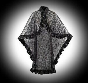 New Rosetic Black Gothic Lace & PVC Trim Buckled Long Cloak Cape Wrap Plus Size