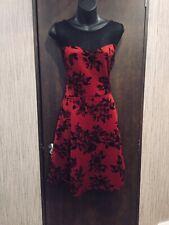 Vibe Red/Black Velvet Print Dress Size 14 Sleeveless Floral Back Zip Fit Flare