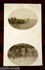 Ghost Town dpo 1914 Loverna Saskatchewan Canada Thrashing Wheat rppc Postcard