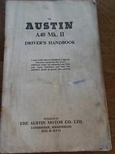Vtg AUSTIN A40 Mk II Drivers Handbook Instruction Book Car Manual Illustrated