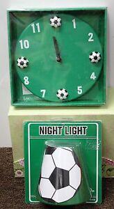 2-SET SOCCER CLOCK & NIGHT LIGHT Kids Teens Tweens Bedroom Sports Boys Girls NEW