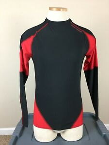 Under Armour Heat Gear Red Black Long Sleeve Crew Neck Compression Men's Size L
