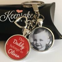 Personalised Photo Keyring - Red - Belongs to - Birthday Present Christmas Box