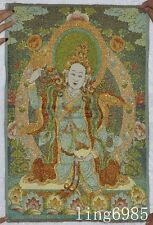 Tibet Buddhism cloth Green Tara god Buddha Statue statue thangkas tangka