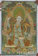 Tibet Buddhism cloth Green Tara god Buddha Statue statue thangkas tangka