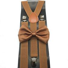 Brown Bow Tie & Suspender Set Tuxedo Wedding Formal Men's Accessories