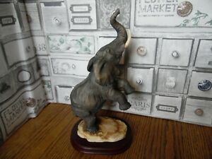 Tall Rearing Elephant Figurine On Mount