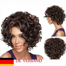 DE Damen Lockig Kurz Mode Karneval Voll Perücke Haarersatz Wig Cosplay Haare