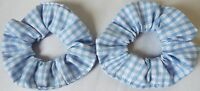 2 X MINI HAIR ELASTIC BOBBLE SCRUNCHIES LIGHT BLUE GINGHAM GIRLS SCHOOL UNIFORM