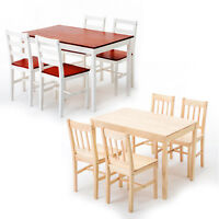 5 Piece Pine Wood Dining Table Set and 4 Chairs Kitchen Dining Furniture
