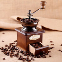 Manual Coffee Grinder Wooden Hand Crank Coffee Mill & NO-MESS CATCH DRAWER