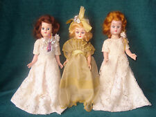 "3 VINTAGE / ANTIQUE 8"" TALL BLINKING EYE DRESS ME BABY DOLLS- SATIN& LACE GOWNS"