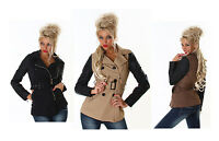 NEW SEXY WOMEN LEATHER LOOK TRENCH JACKET LADIES COAT SIZE 8 10 12 14 CARDIGAN