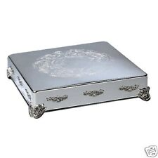 """Silver Plate Embossed Cake Stand Plateau 14"""" Square"""