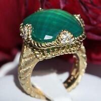 Judith Ripka 925 sterling silver 8.90ct green chalcedony white topaz ring 10.3gr