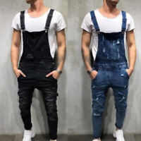 Men Distressed Denim Overalls-Suspender Trousers Bib Pants Skinny Jean Jumpsuits